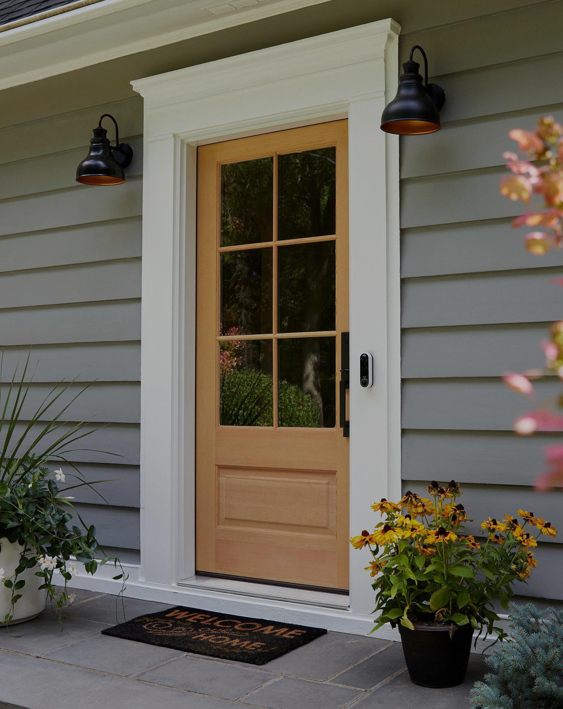 door with Arlo video doorbell